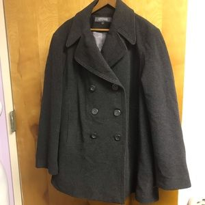 Kenneth Cole Reaction Grey Wool Blend Peacoat 2x